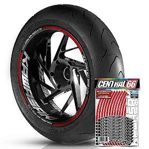 Adesivo Friso de Roda M1 +  Palavra VULCAN EN 500 LTD + Interno G Kawasaki - Filete Vermelho Refletivo