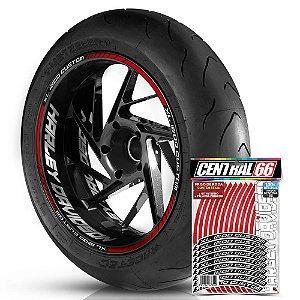 Adesivo Friso de Roda M1 +  Palavra XL 1200 CUSTOM + Interno G Harley Davidson - Filete Vermelho Refletivo
