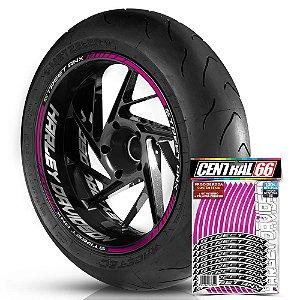 Adesivo Friso de Roda M1 +  Palavra STREET ANX + Interno G Harley Davidson - Filete Rosa