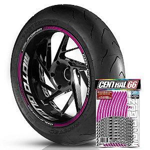 Adesivo Friso de Roda M1 +  Palavra CALIFORNIA + Interno G Moto Guzzi - Filete Rosa