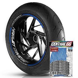 Adesivo Friso de Roda M1 +  Palavra HARLEY DAVIDSON FAT + Interno G Harley Davidson - Filete Azul Refletivo