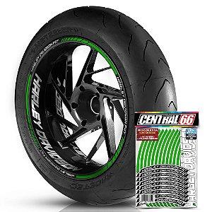 Adesivo Friso de Roda M1 +  Palavra HARLEY DAVIDSON FAT + Interno G Harley Davidson - Filete Verde Refletivo