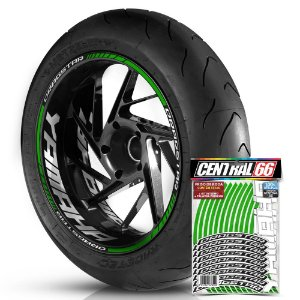 Adesivo Friso de Roda M1 +  Palavra DRAGSTAR + Interno G Yamaha - Filete Verde Refletivo