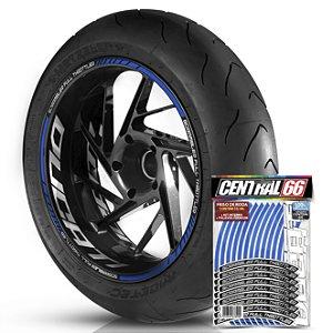Adesivo Friso de Roda M1 +  Palavra SCRAMBLER FULL THROTTLER + Interno G Ducati - Filete Azul Refletivo