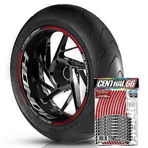 Adesivo Friso de Roda M1 +  Palavra CB 600F HORNET + Interno G Honda - Filete Vermelho Refletivo