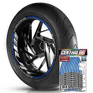 Adesivo Friso de Roda M1 +  Palavra BLACK STAR 150 + Interno G MVK - Filete Azul Refletivo
