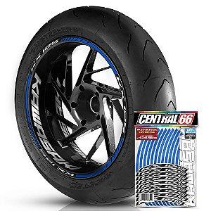 Adesivo Friso de Roda M1 +  Palavra KX 125 + Interno G Kawasaki - Filete Azul Refletivo