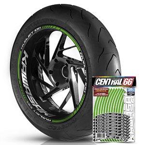 Adesivo Friso de Roda M1 +  Palavra AVAJET 100 + Interno G Kawasaki - Filete Verde Refletivo
