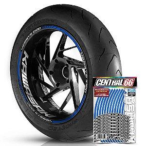 Adesivo Friso de Roda M1 +  Palavra VERSYS 1000 + Interno G Kawasaki - Filete Azul Refletivo