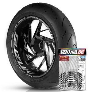 Adesivo Friso de Roda M1 +  Palavra DR 350 + Interno G Suzuki - Filete Prata Refletivo