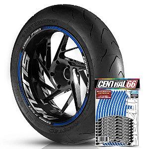 Adesivo Friso de Roda M1 +  Palavra GSR 750 + Interno G Suzuki - Filete Azul Refletivo