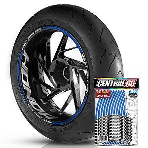 Adesivo Friso de Roda M1 +  Palavra BIZ 125 ES + Interno G Honda - Filete Azul Refletivo