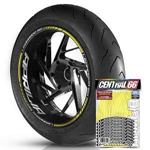 Adesivo Friso de Roda M1 +  Palavra LEONARDO 150 + Interno G Aprilia - Filete Amarelo