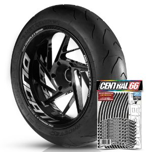 Adesivo Friso de Roda M1 +  Palavra 1199 PANIGALE S SENNA + Interno G Ducati - Filete Preto