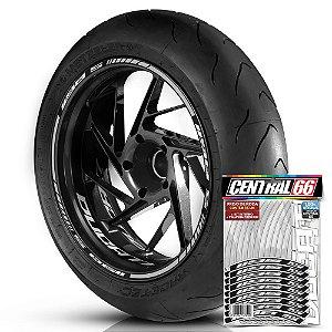 Adesivo Friso de Roda M1 +  Palavra 1198 S + Interno P Ducati - Filete Prata Refletivo