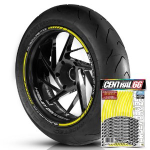Adesivo Friso de Roda M1 +  Palavra BLACKLINE FXS + Interno P Harley Davidson - Filete Amarelo