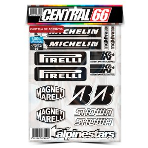 Cartela Individual Patrocínios Preto e Branco - Pirelli Adesivos Stickers