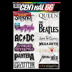 Cartela Individual Musica Rock M1 - P4 Adesivos Stickers