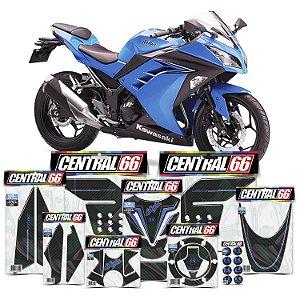 Kit Protetores Resinados Kawasaki Ninja 300 Carbono Azul