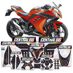 Kit Protetores Resinados Kawasaki Ninja 300 Carbono Laranja