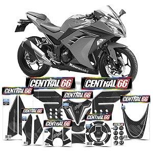 Kit Protetores Resinados Kawasaki Ninja 300 Carbono Prata