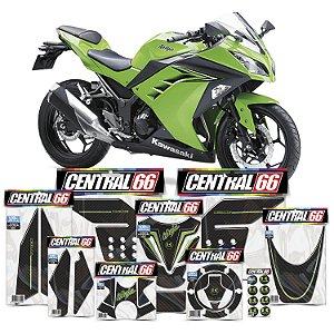 Kit Protetores Resinados Kawasaki Ninja 300 Carbono Verde
