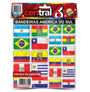 Cartela Adesivo Bandeiras América Do Sul Motorclub Viagem