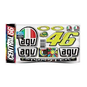 Cartela Adesivos Resinados M09 Tartaruga 46 Valentino Rossi