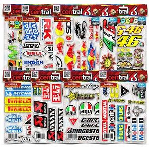Cartela Adesivos Patrocínios Moto GP RedBull Monster Valentino Kit Envernizada