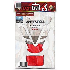 Protetor de Tanque Tankpad Honda CBR 1000 RR Repsol Branco Resinado Emborrachado Alto Relevo