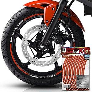 Frisos de Roda Premium Honda CBX 200 STRADA Refletivo Laranja Filete