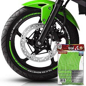 Frisos de Roda Premium Kawasaki KLX 110 MONSTER Refletivo Verde Filete