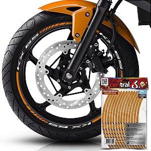 Frisos de Roda Premium Kawasaki KX 65 Refletivo Dourado Filete