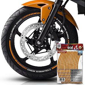 Frisos de Roda Premium Kawasaki TOURER 650 Refletivo Dourado Filete
