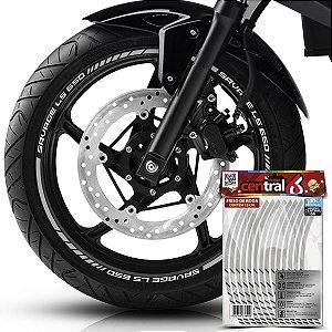 Frisos de Roda Premium Suzuki SAVAGE LS 650 Refletivo Branco Filete