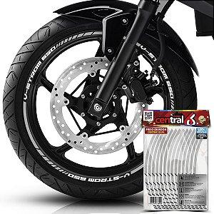 Frisos de Roda Premium V-STROM 650 Refletivo Branco Filete