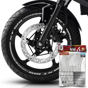 Frisos de Roda Premium Yamaha XT 125 Refletivo Branco Filete