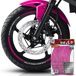 Frisos de Roda Premium Yamaha XVS 650 DRAG STAR Rosa Filete