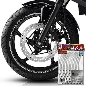 Frisos de Roda Premium Yamaha YZF R1 1000 Refletivo Branco Filete