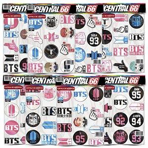 Kit 8 Cartelas Adesivos BTS K-POP Música