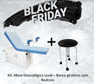 Kit Mesa Ginecológica Luxal S-0985 + Banco Giratório em Pintura Epóxi Estofado com Rodizio