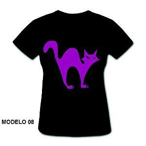 Camiseta Baby Look - Halloween Preta - 100% Algodão