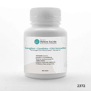 Gengibre + Cavalinha + Chá Vermelho - Termogênico Modulador Corporal - 180 doses