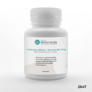 L Metionina 500mg + Vitamina B6 10mg - 180 doses