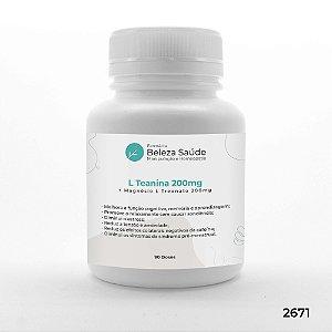 L Teanina 200mg + Magnésio L Treonato 200mg - 90 doses