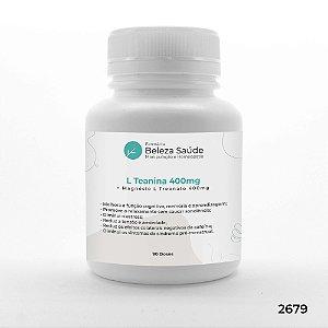 L Teanina 400mg + Magnésio L Treonato 400mg - 90 doses