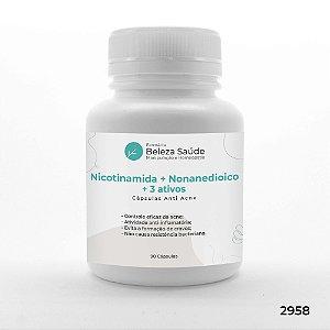 Nicotinamida + Nonanedioico + 3 Ativos - Cápsulas Anti Acne - 90 doses