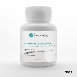 Pancreatina 25.000usp / Mg : Amilase Lipase Protease para Sistema Digestivo - 90 Cápsulas