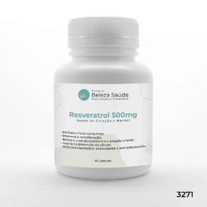 Resveratrol 500mg Saúde do Coração e Mental - 30 Cápsulas