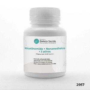 Nicotinamida + Nonanedioico + 3 Ativos - Cápsulas Anti Acne